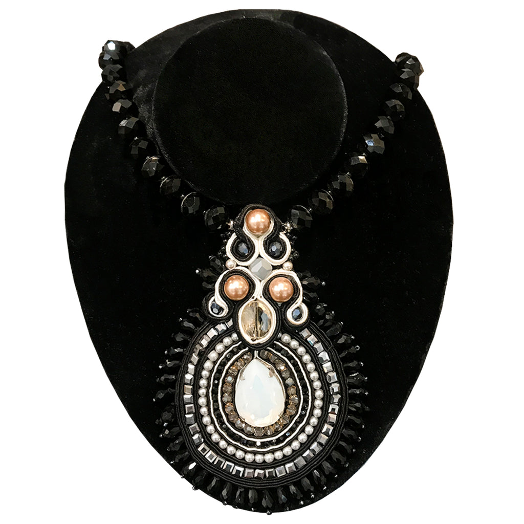 French Black Bead Pendant Necklace