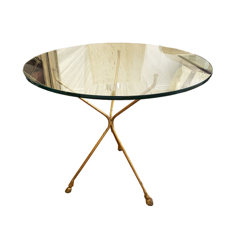 Glass top Gold Hoof Base Table