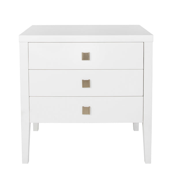 White Three Drawer End Table