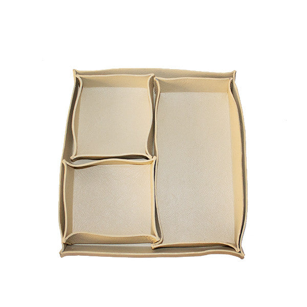 Ivory Leather Trinket Trays