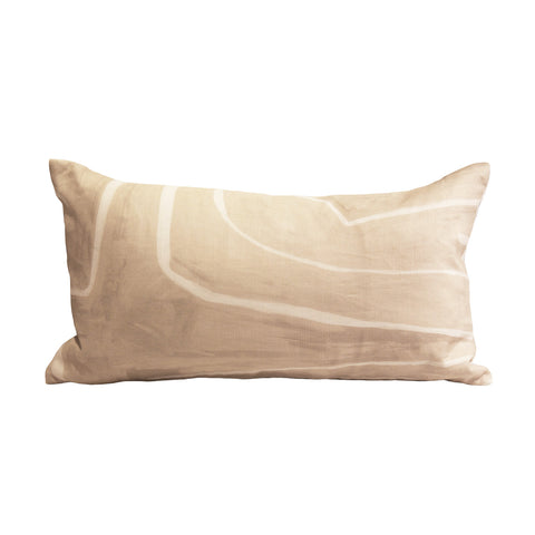 Kelly Wearstler cream and white linen pillow combines playful lines with formal finish.