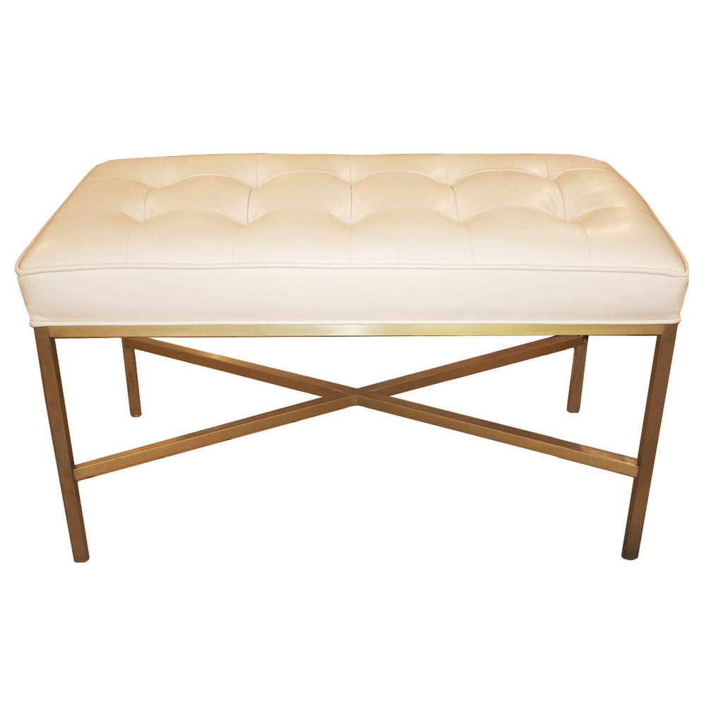Ivory Leather Bench with Gold X Frame