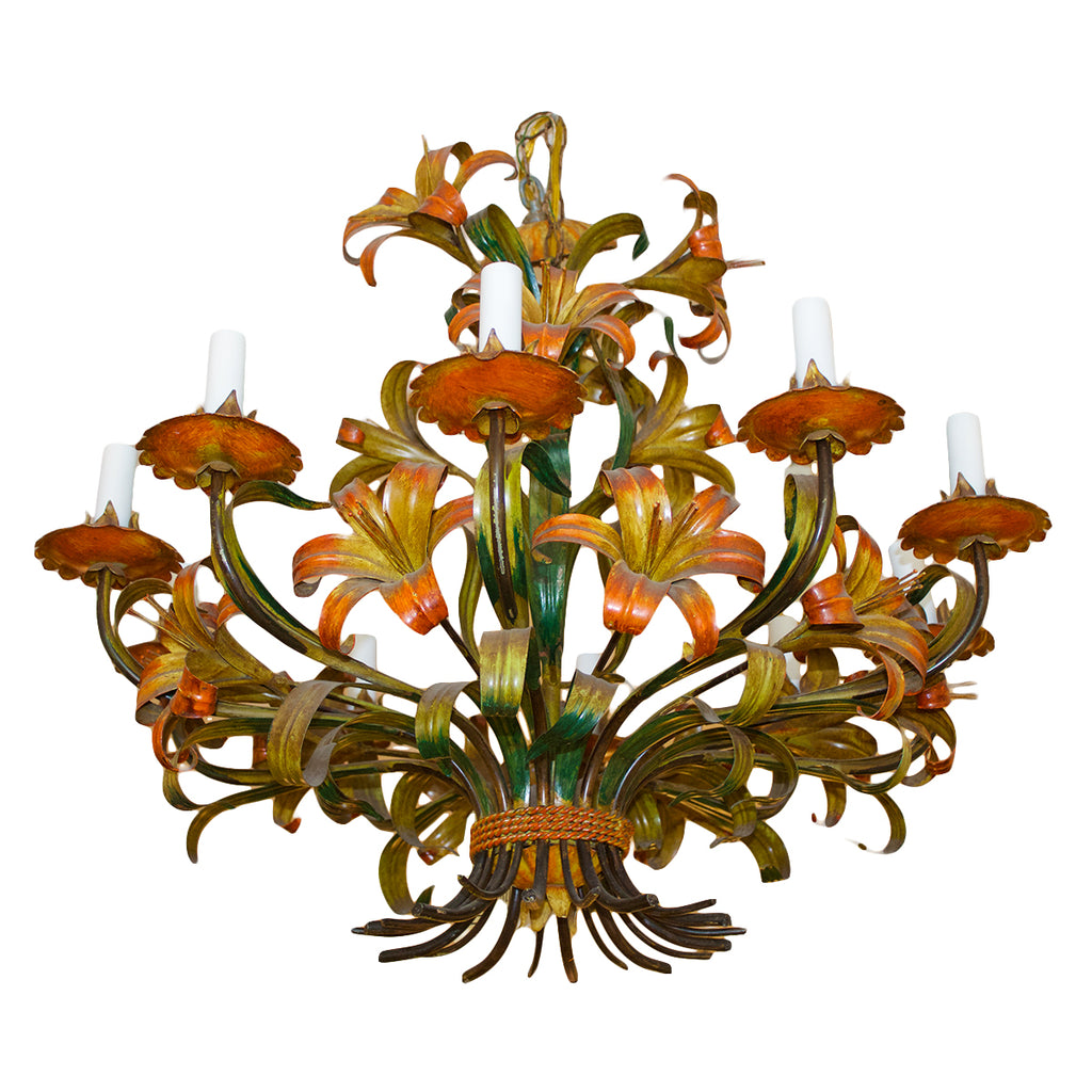 Vintage Italian Painted Lily Chandelier