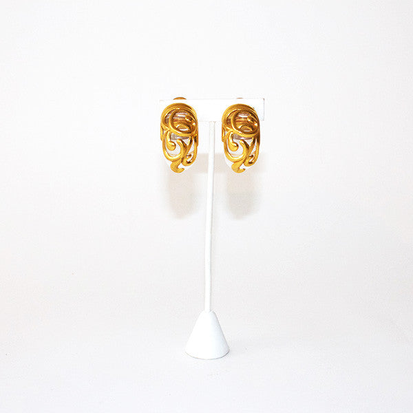 Vintage Gold & Lucite Earrings