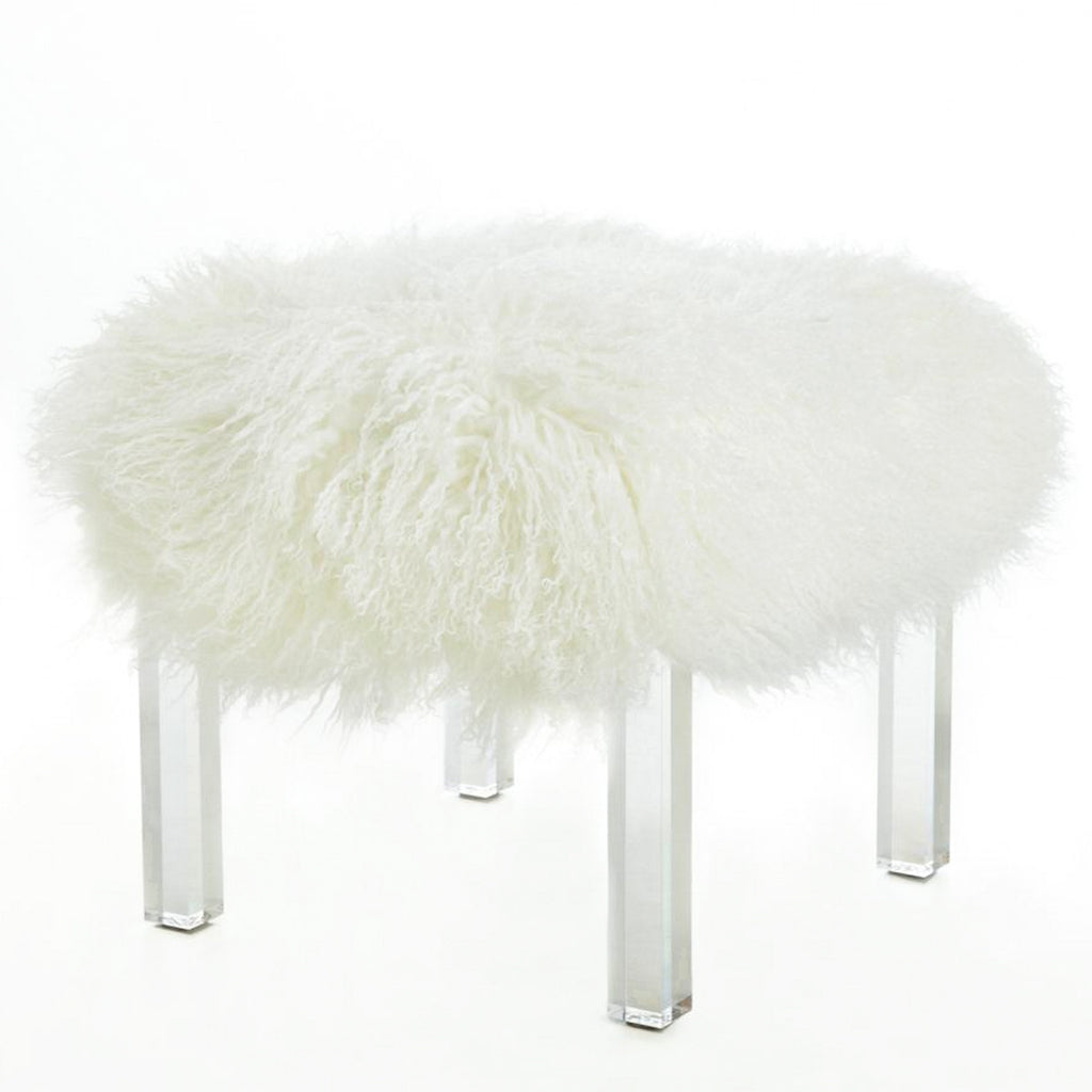Lucite Bench With Tibetan Lamb Top