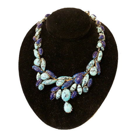 Vintage Christian Dior Faux Lapis and Turquoise Necklace