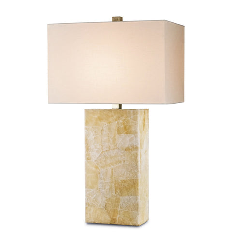 Brass & Polished Quartz Table Lamp