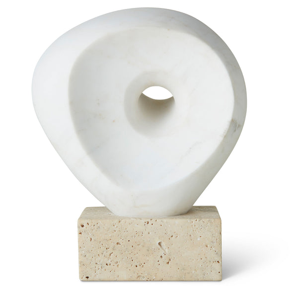 Aerin's Margot Sculpture is inspired by the work of the 20th century British sculptor, Barbara Hepworth, who was a leading figure in the modernist community of artists based in St. Ives, England. The Margot Objet has been crafted in white marble and has an organic, serene feel