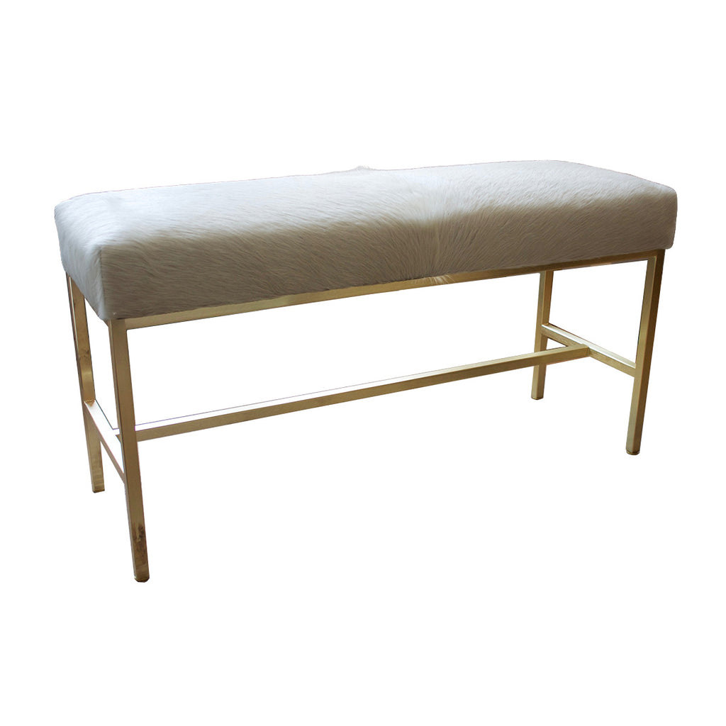 White Cowhide Bench With Satin Brass Base