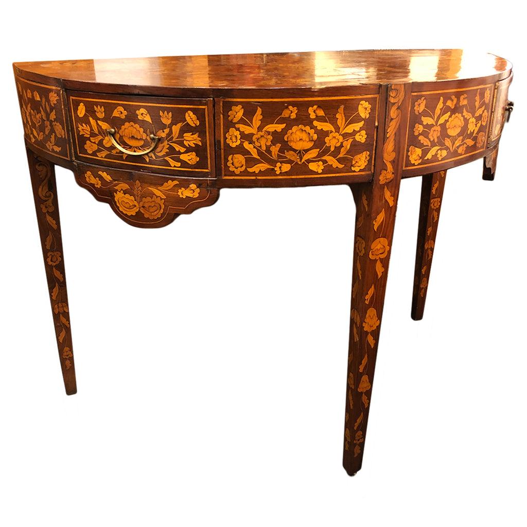 18th C Dutch Marquetry Demi Lune Table