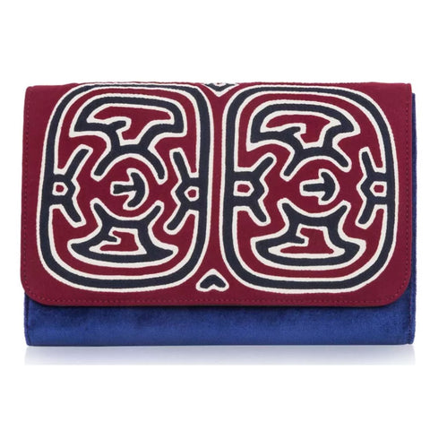 Mola Sasa clutch in burgundy and blue.