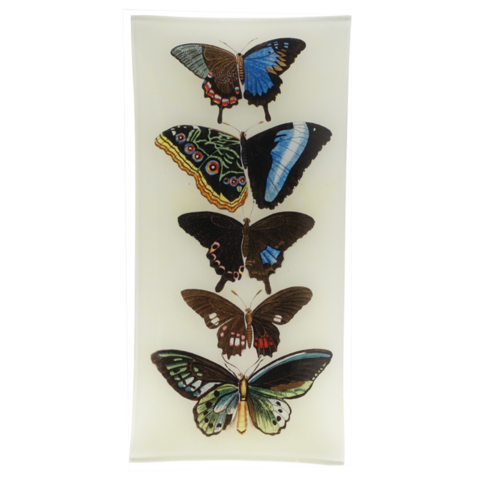Handmade in New York, this decoupage tray features an illustration of butterflies sourced from John Derian's extensive collection of antique and vintage prints