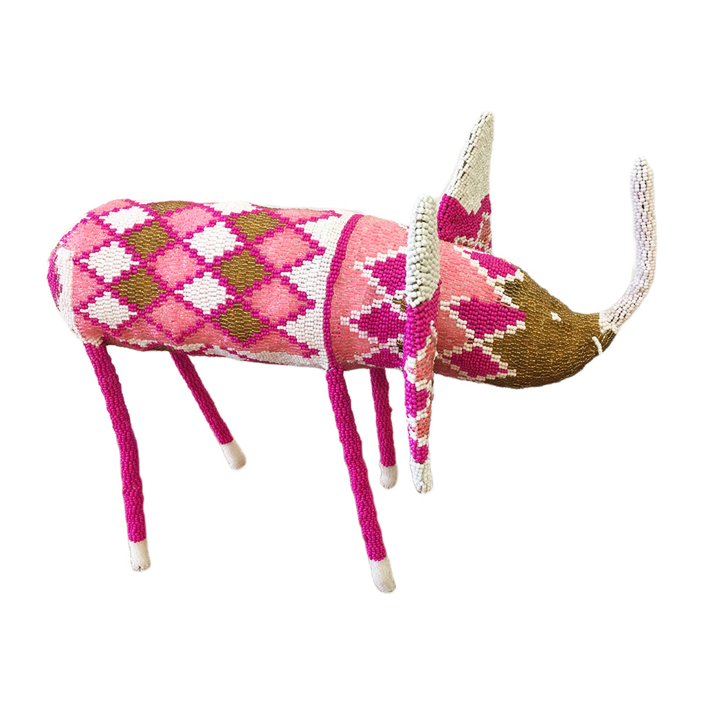 Beaded elephant handcrafted by female artisans in Africa. These joyful sculptures add whimsy and colour to any room.