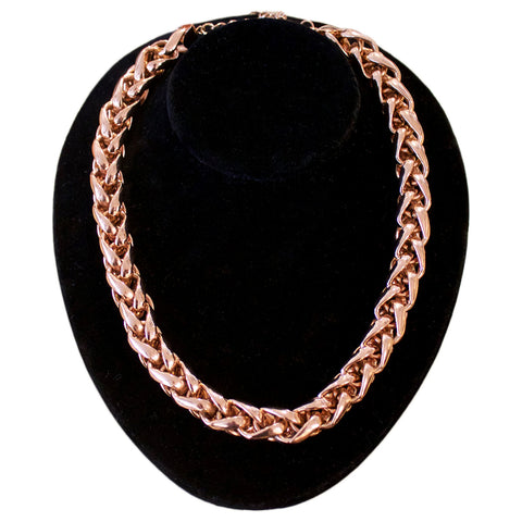 Poggi Paris rose gold metal link necklace
