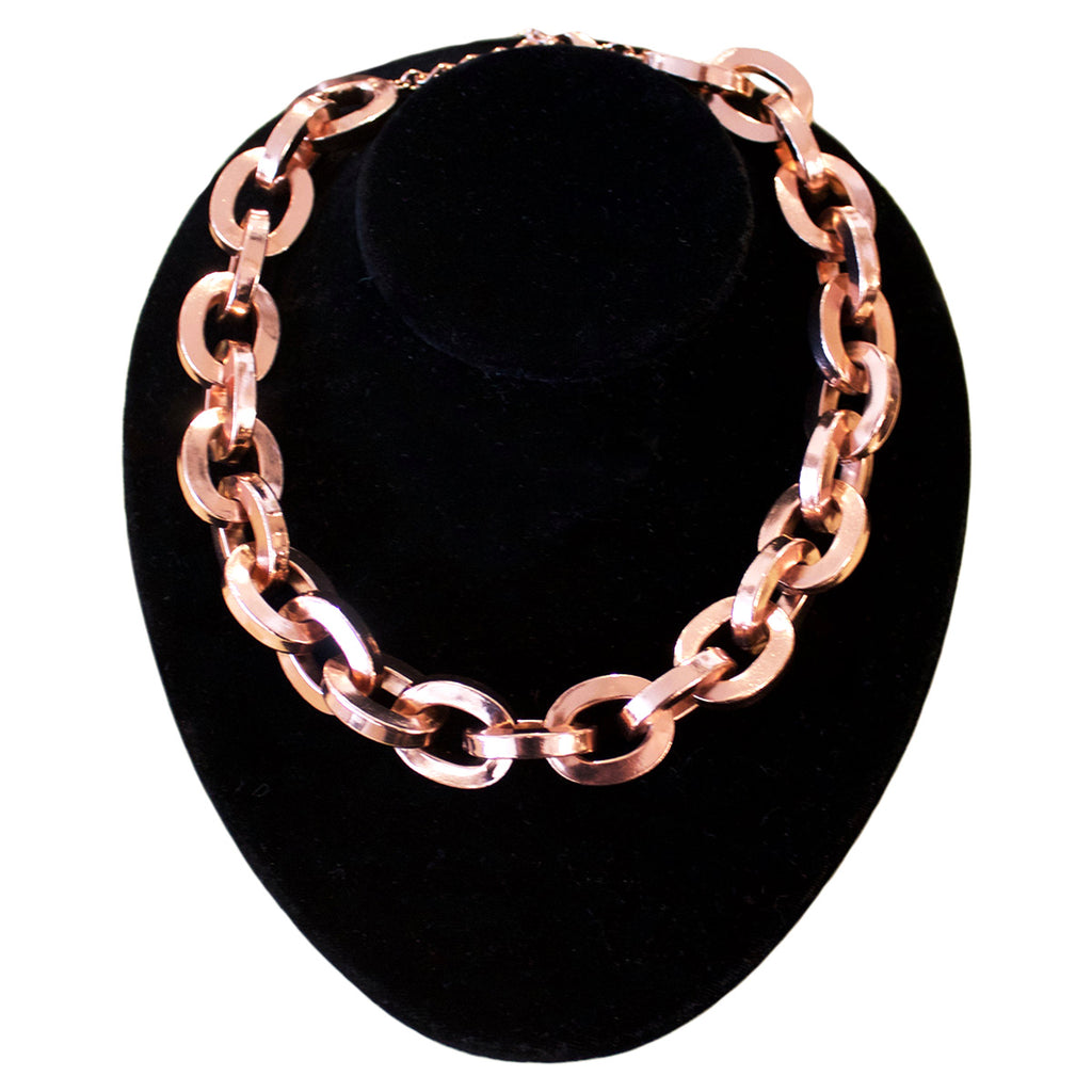 Poggi Paris rose gold metal link necklace.
