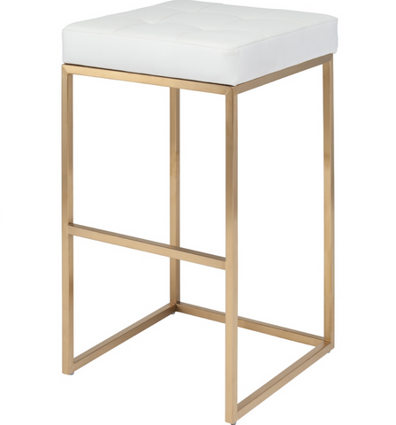 White Top Brushed Gold Counter Stools