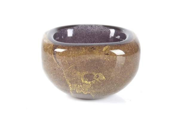 This Venini Murano glass bowl by Carlo Scarpa has a purple interior with gold flecks, a truly unique piece for any collector.