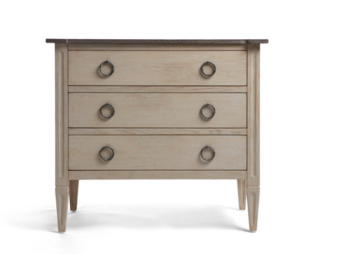 This three drawer bedside table makes an ideal storage bedroom