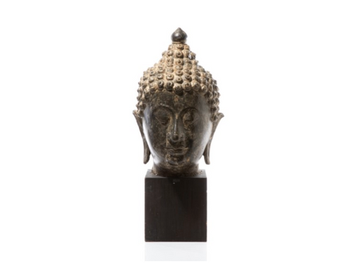BRONZE BUDDHA HEAD ON STAND