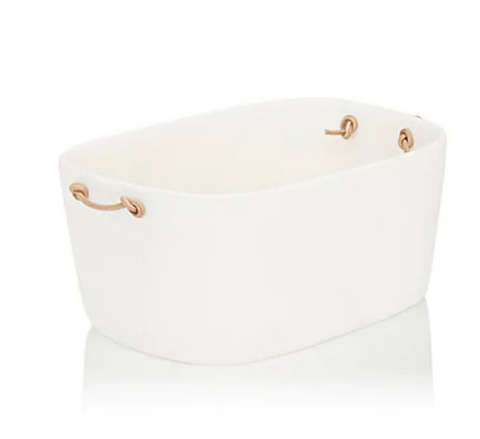 Tina Frey Large White Ice Bucket with Leather Handles