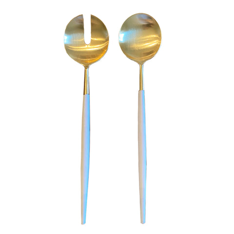 Gold + White Salad Servers are made of powder coated metal.  Handwash