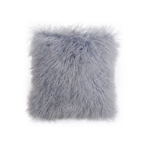 Square Tibetan Lamb Pillow In Velvet Dove