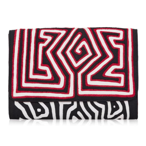 Mola Sasa clutch in dark grey and red. Handcrafted by artisans in Columbia with cotton and natural yute.