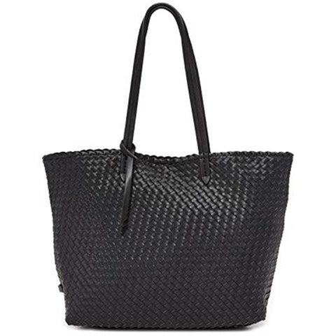 Woven Black Tote With Handles