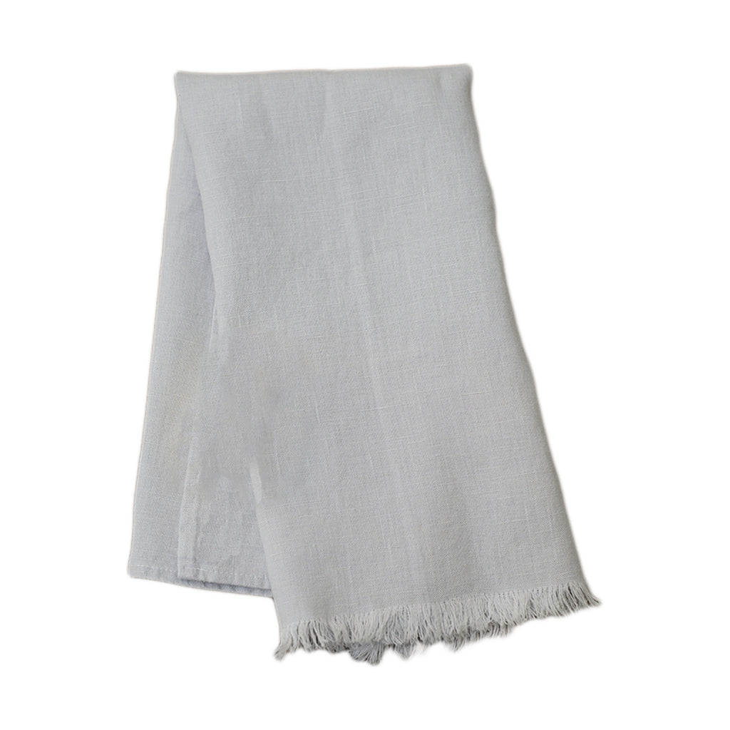 Stone Linen Fringed Tea Towel