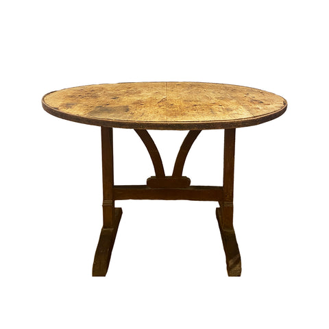 This 19th century French wine tasting table can be used as breakfast table or work station table. Irregularity in the banding.