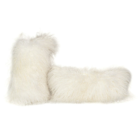 White Tibetan Lamb Pillow with Linen Fabric