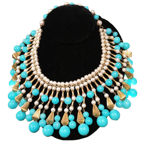 "Vintage ""Trifari"" Turquoise Droplet Bead Necklace c.1960s"