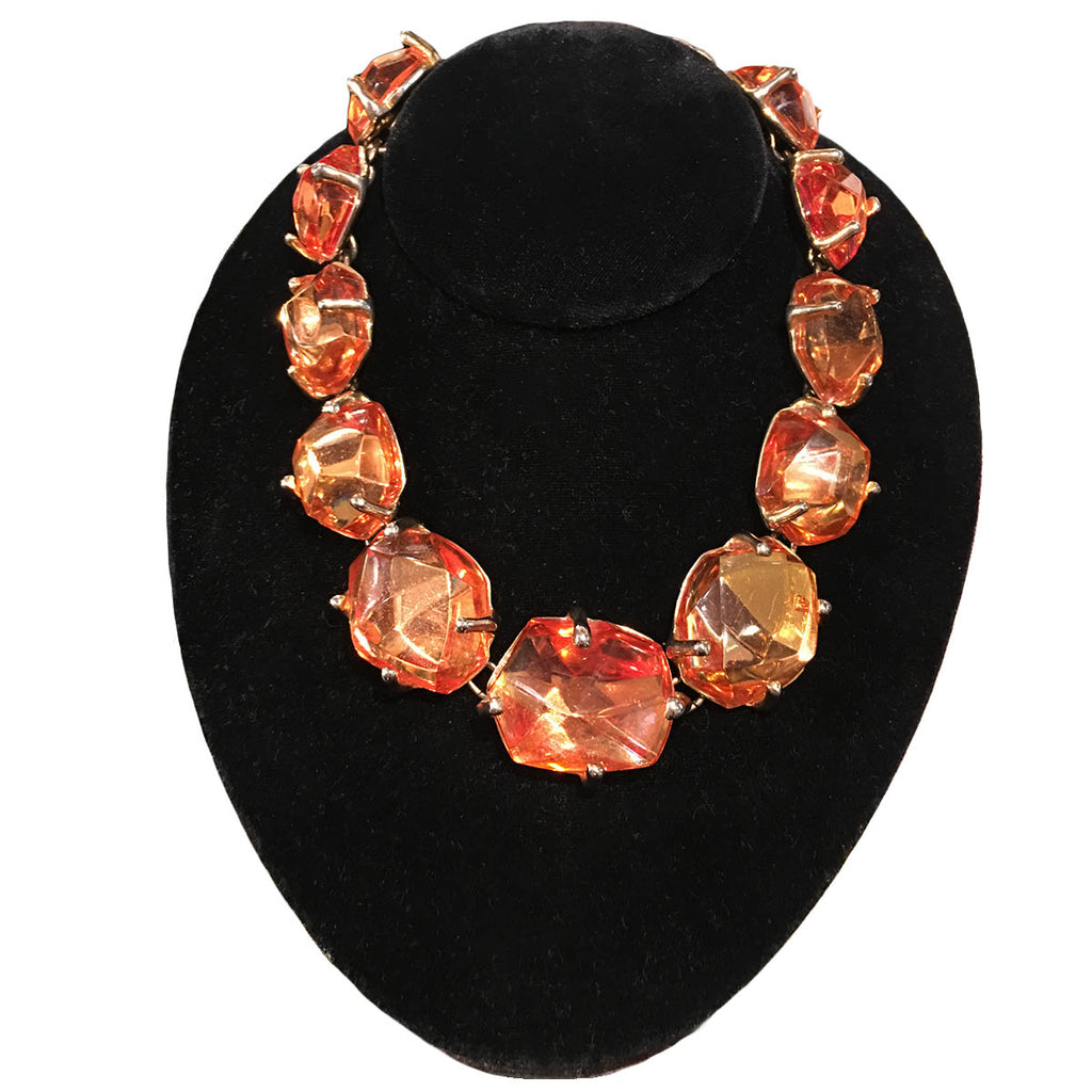 "Vintage ""YSL"" Graduated Amber/ Resin Nugget Necklace c.1980"