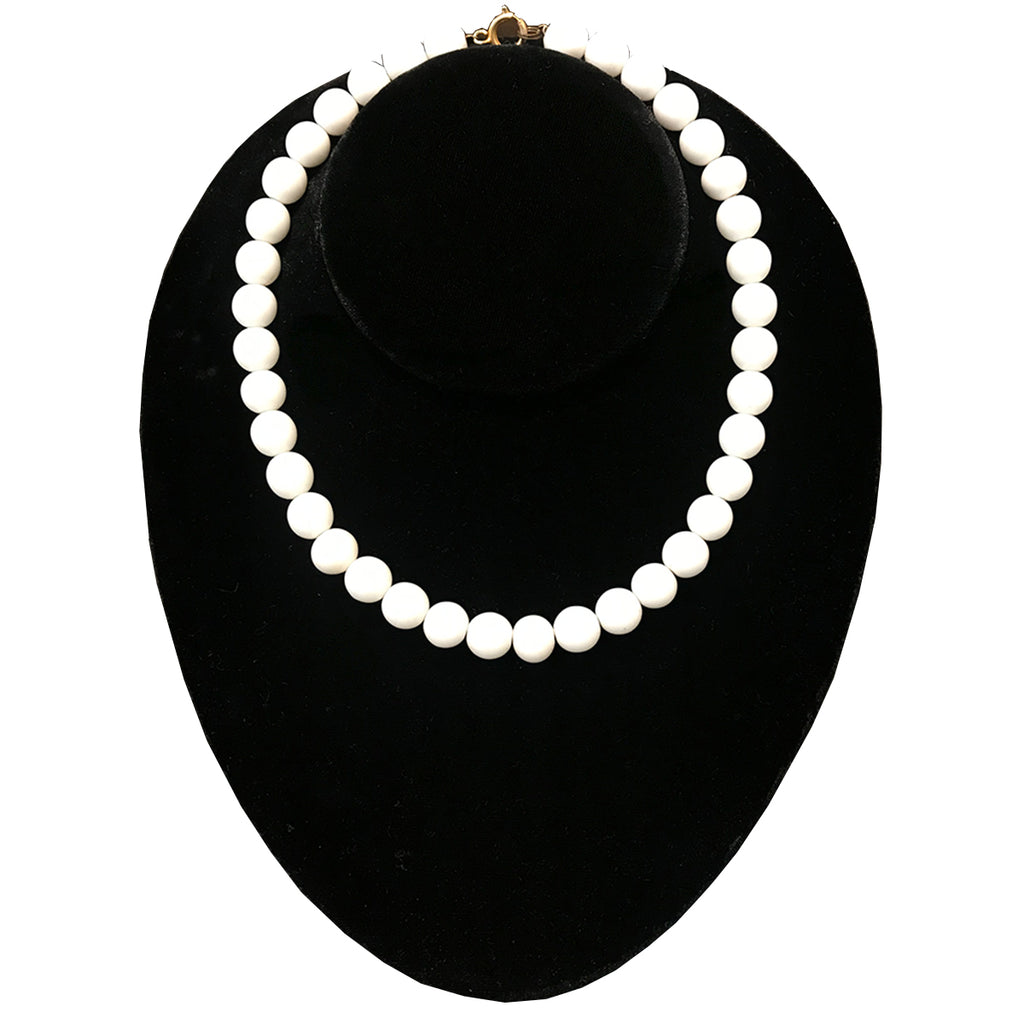 Vintage White Bead Single Strand Necklace