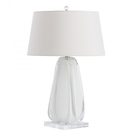 Ribbed White Glass Lamp