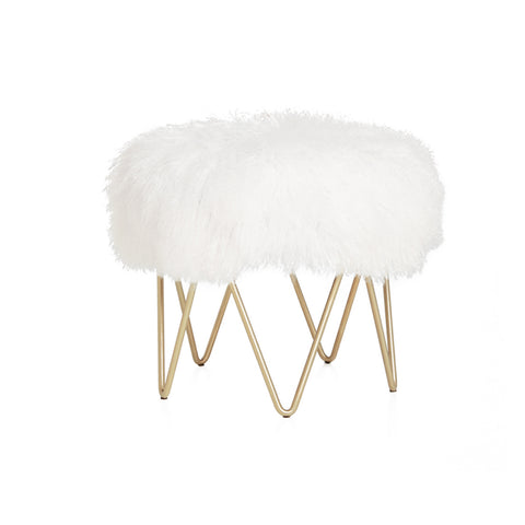 White Tibetan Lamb with Satin Brass Base Wave Stool