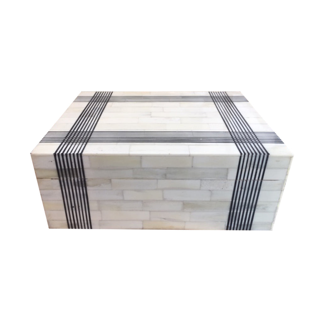Black Hatch Accent Line Box adds a graphic accent to any table top styling