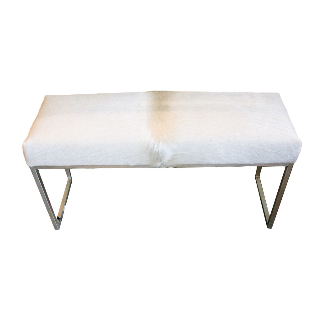 Cowhide  Bench with Satin Nickel Base