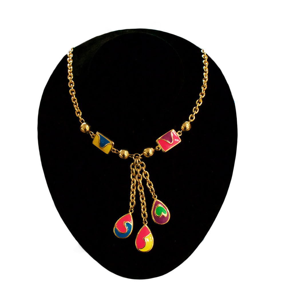 Coloured Enamel Drop Necklace