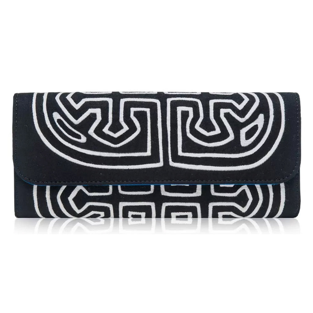 Mola Sasa clutch in black, white and French blue.