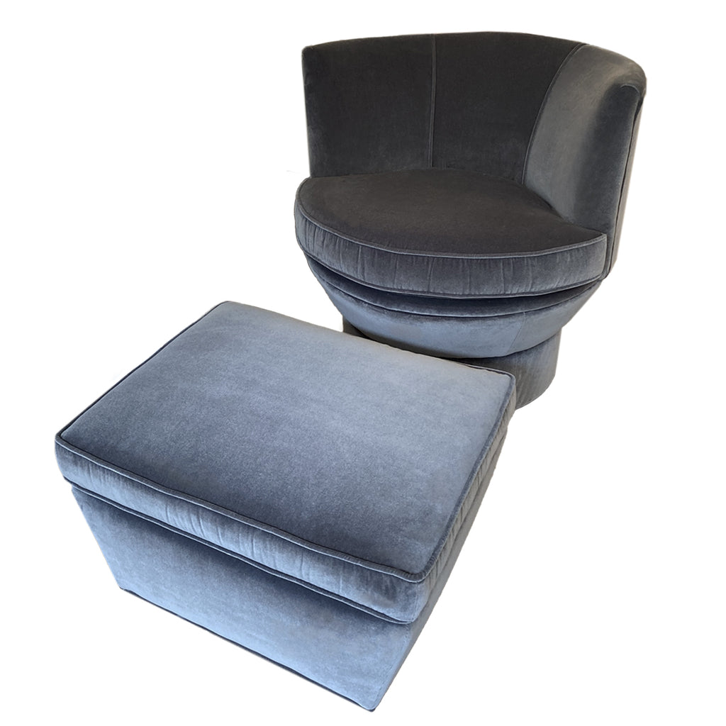 Mid Century Curved Chair + Ottoman Upholstered In Grey Velvet Fabric