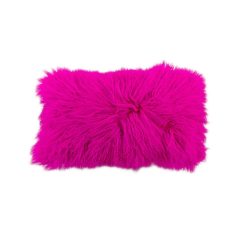 Tibetan lamp pillow in electric, energizing hot pink. Hot pink silk backing as well.