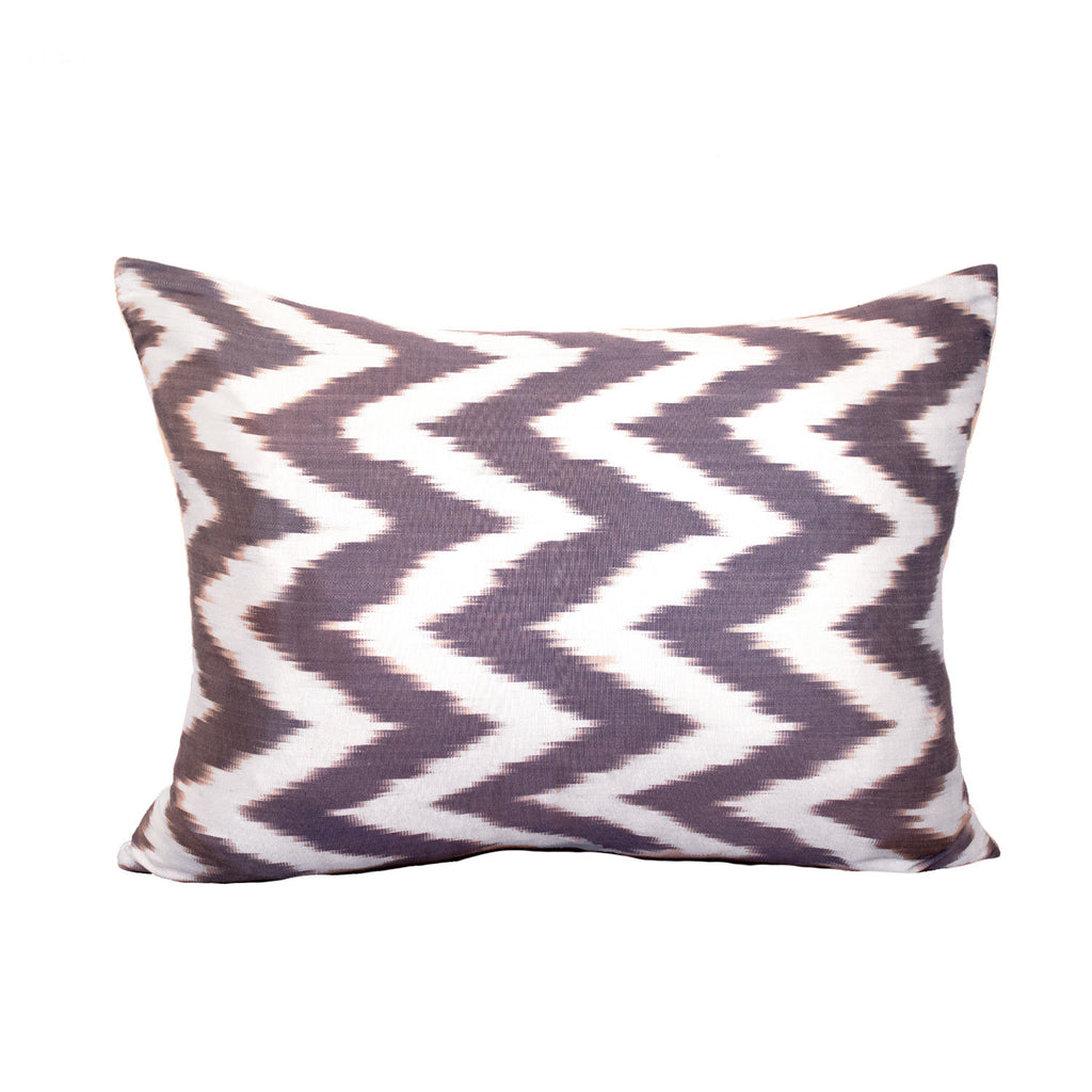 Grey Ikat pillow is graphic, striking and polished.