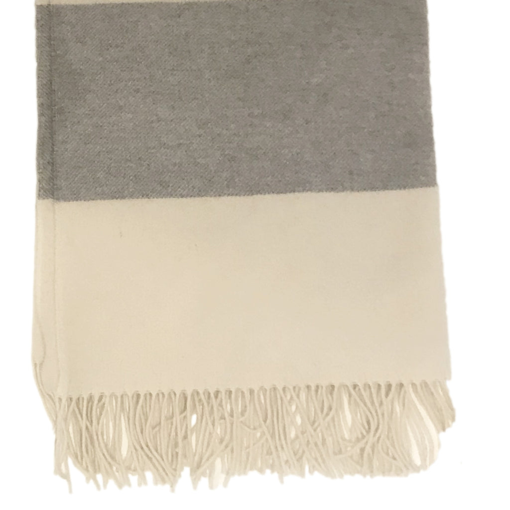 Cashmere and wool throw in a ivory with a light stripe grey