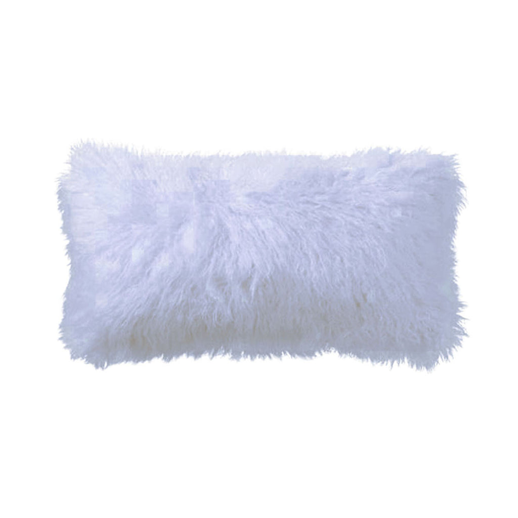 Light Grey Tibetan Lamb Pillow with Light Grey Velvet Backing