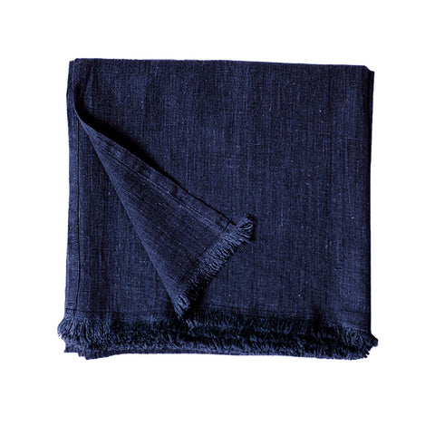 Navy Stonewash Linen Throw