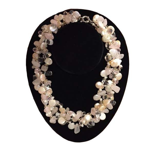 Mother of Pearl & Glass Bead Triple Strand Necklace