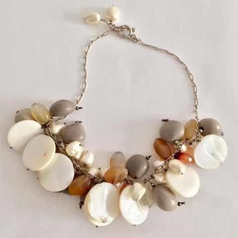Silver Chain Necklace with Fresh Water Pearls, Abalone, Mother of Pearl & Quartz Beads