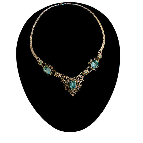 "Signed ""Coro"" Blue Rhinestone Vintage Necklace"