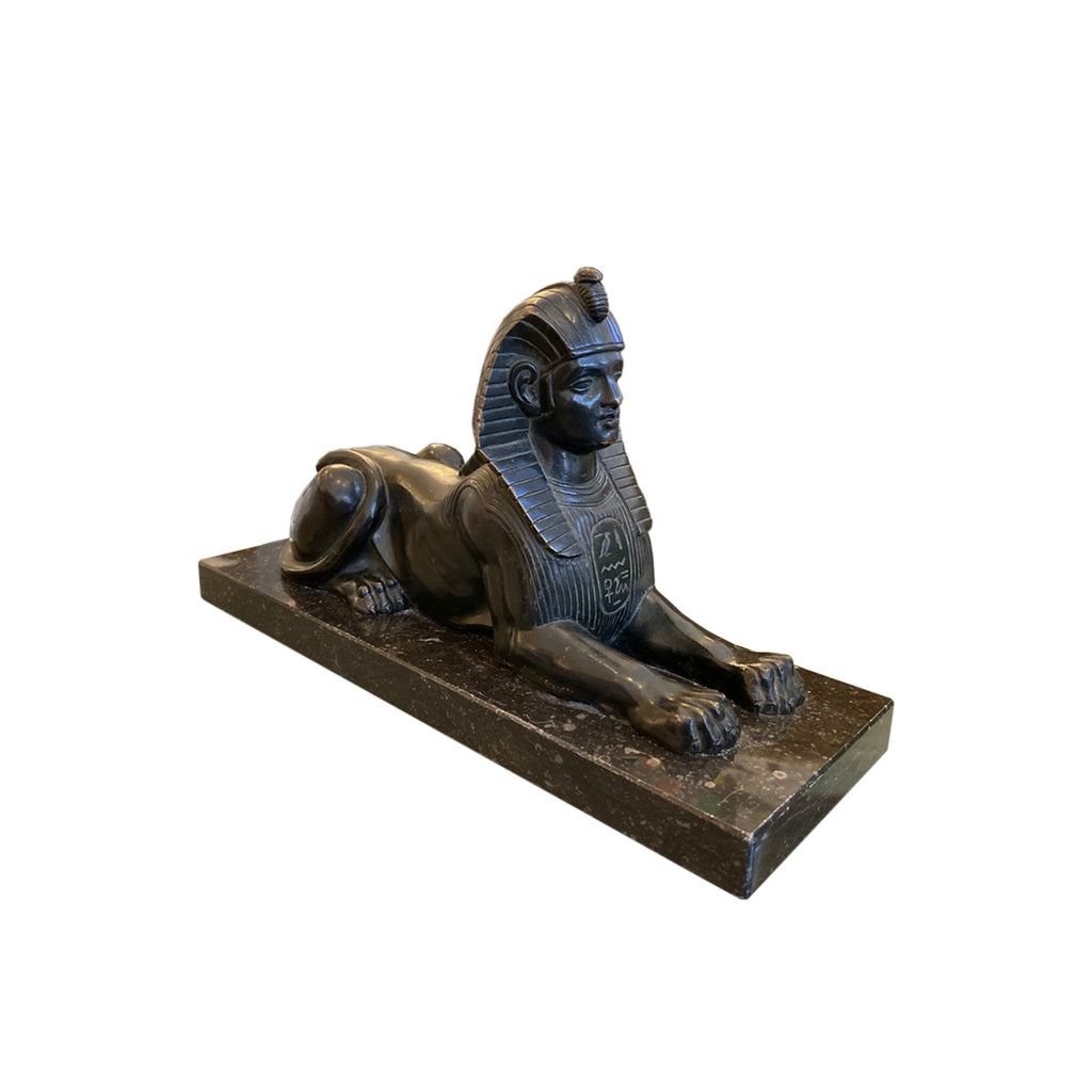 French bronze Egyptian sphinx sculpture adds dimension to a bookcase, mantle or side table.